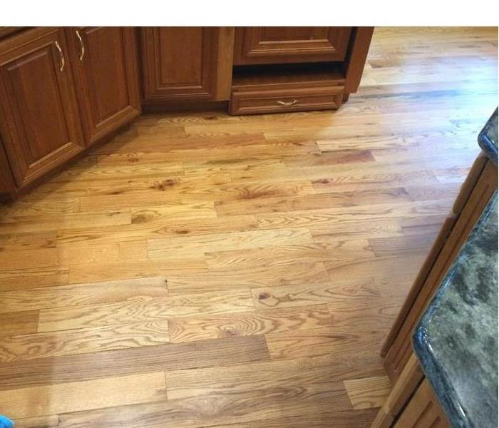 Wet wood floorboards in a kitchen