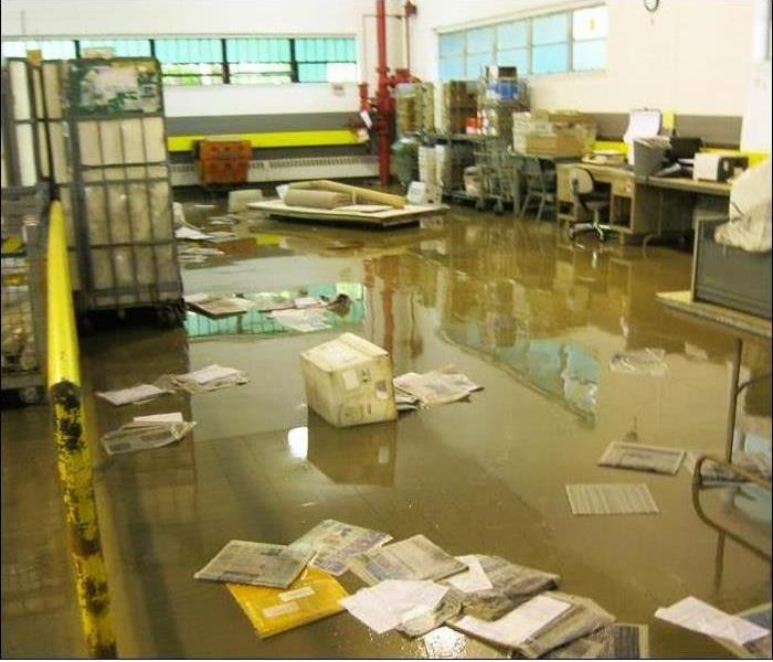 newspapers, debris and mail stuff on the flooded floor of a warehouse