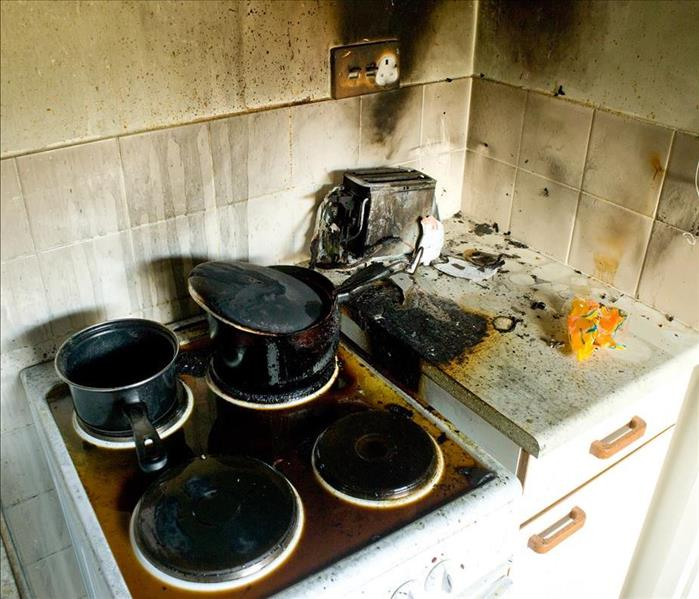 fire damaged kitchen
